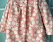 Girl's Coat, pink and white polka dot fleece