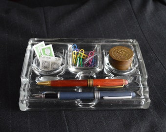 Vintage 1950s Heavy Glass Desk Organizer Mid Century Modern Office Ink Wells Pen Holder Extra Compartment – Great All Purpose Storage
