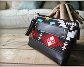 Clutch - Navajo Clutch - Navajo clutch - Black leather clutch - Zipper Clutch - Leather clutch