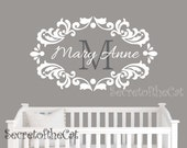 Name and Initial wall decal - wall decals nursery - damask decal - baby girl nursery name - Custom name monogram wall decal - monogram BN050