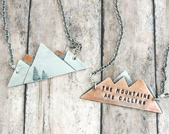 The Mountains are Calling Necklace - John Muir Quote - Reversible Mixed Metal Mountain Range - Nature Jewelry - Gift for Hiker - Climber