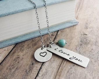 I Love You Sterling Silver Necklace - Heart Charm - Mother's Day Gift - Romantic Gift - Wedding Gift
