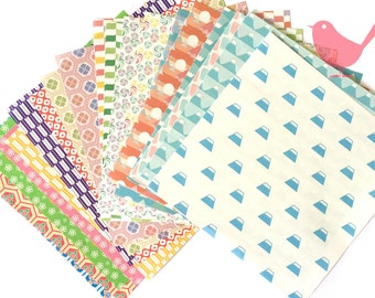 Scrap Pack - Japanese rice and origami paper ephemera, paper scraps set 2