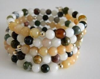 Boho Style Wrap Bracelets Coil Bracelets Multi-gemstone Bracelet