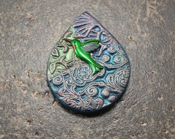 Green Lavender Turquoise Hummingbird Pendant Mixed Media Teardrop Pendant