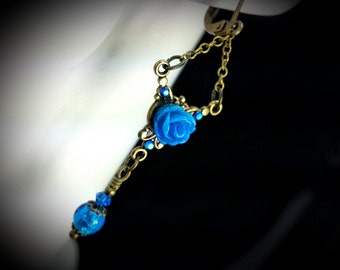 Blue Rose Victorian Earrings, Sky Blue Dangle Drops, Antiqued Brass Filigree Titanic Temptations Vintage Edwardian Bridal Style Jewelry