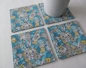 Set Of 4 Fabric Coasters/Blue Flower