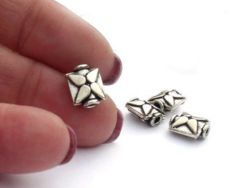 Square Beads Geometric Star Sterling Silver