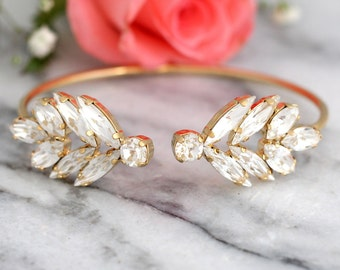 Bridal Wedding Bracelet, Swarovski Crystal Bracelet, Bohemian Bracelet ,Bridesmaids Jewelry, Bridal Cuff Bracelet, Open cuff Bracelet.