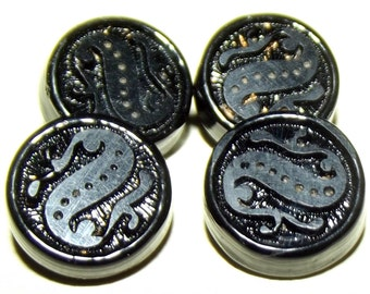 Antique Buttons 4 black glass Charm String swirl back
