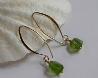 Apple Green Peridot Olivine 14k Gold Filled Long Hook Earrings
