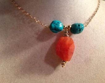 Orange Pendant Necklace - Turquoise Gemstone Jewellery - Silver Jewelry - Fashion - Chain - Boho - Carnelian