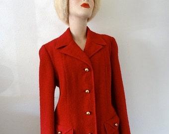 SALE - 1960s red wool jacket / mod suit coat / 60s designer vintage