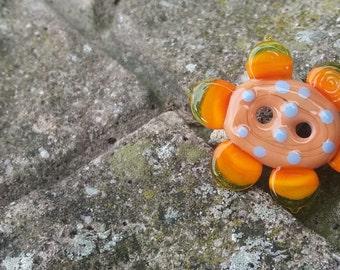 Flower Power Button Bead by Lesley Jane Nixon - SRA - OOAK - UK
