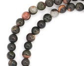 CLEARANCE Black and Orange Jasper Beads - 4mm Round - Full Strand