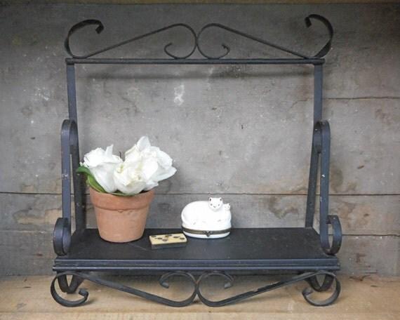 Vintage Wrought Iron Shelf Black Wall Decor Indoor Outdoor