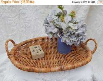 fall sale 2016 Large Primitive ANTIQUE Natural Woven Wood HANDLED TRAY ---Flower Picking Basket