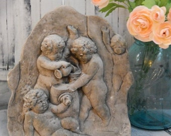 DISCOUNTED Vintage Cherub~Naked~ Wall Sculpture~ROMAN /GREEK ~Wall Hanging~Bathroom Decor~Courtyard Decor