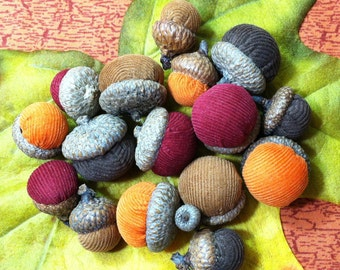 Fall Acorns, Autumn Fall Harvest Thanksgiving Halloween Decor - Set of 16 in Beautiful Corduroy