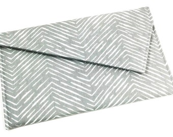 Envelope Clutch Purse - Grey Chevron Fold Over Clutch, Wedding Clutch, Bridesmaid Clutch, New Years Eve Party Clutch