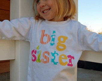 Big Sister Announcement Shirt - Big Sis Shirt, Big Sister Little Sister, Choose Sleeve Length and Shirt Color