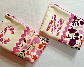 Zip Top Case Pouch Cosmetic Bag with Personalized Initial