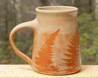 Red Fern Mug, 20oz. 10%OFF,Handmade, Microwave friendly, Stoneware