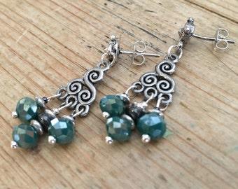 Teal Czech glass faceted bead chandelier post earrings