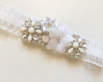 LAST ONE - White heirloom crystal garter with satin organza flowers, dainty ivory organza rhinestone garter, one of a kind garter