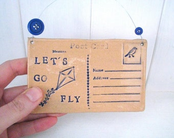 Let's Go Fly a Kite - Ceramic postcard with vintage buttons. Made in Wales, UK.