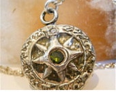 "Thick Sterling Compass Pendant - No Stone 24"" Oxidized Ball Chain- Sterling"