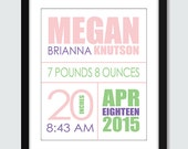 Mixed Modern Birth Announcement Wall Art - 8x10, 5x7 Baby Nursery Children Wall Print Poster