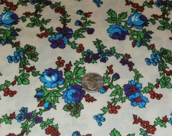 "Vintage Cotton Blend Fabric Yardage, Turquoise, Purple Red Flowers on Ecru Background, 44"" x 108"""