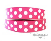 10 Yds WHOLESALE 1.5 Inch Shocking Pink Jumbo Polka Dots grosgrain ribbon LOW SHIPPING Cost