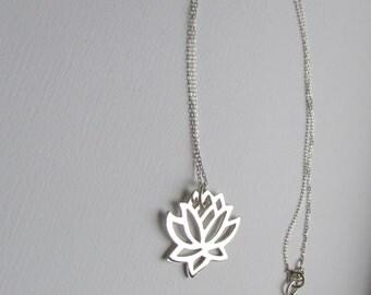 Lotus necklace lotus pendant flower necklace sterling silver lotus jewelry yoga jewelry lotus jewellery