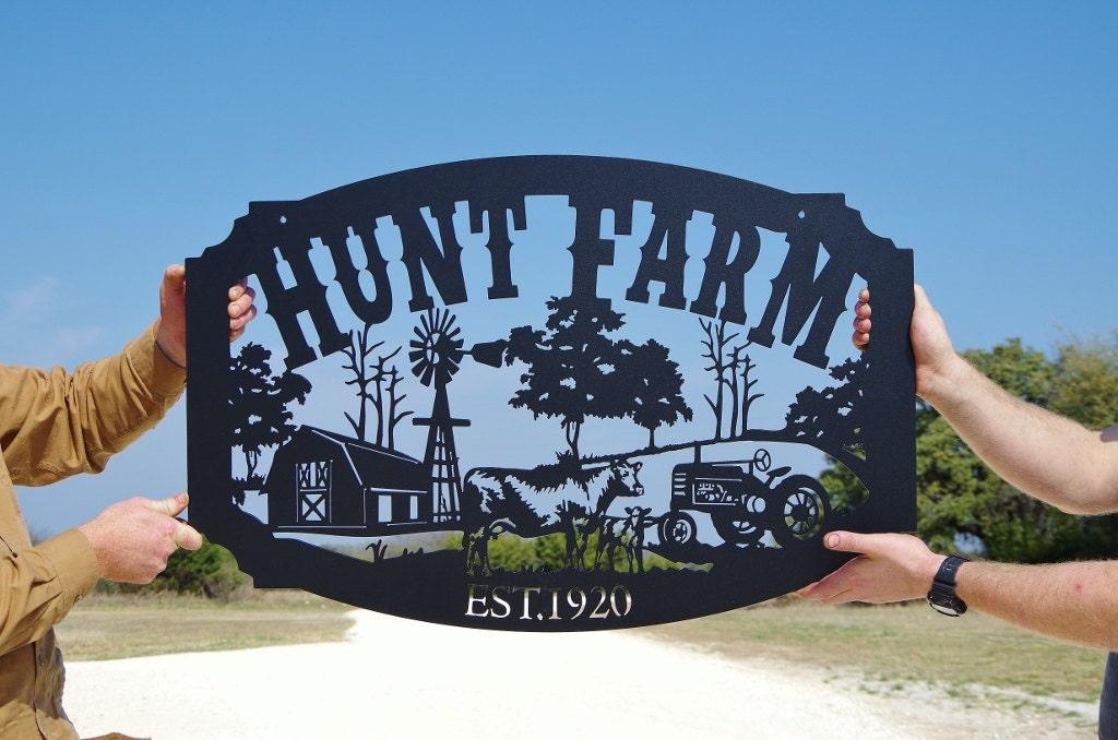 Family Name Custom Metal Farm Sign Personalized Farming Sign