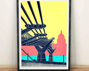 Millenium Bridge, St Paul's Cathedral London Art Print