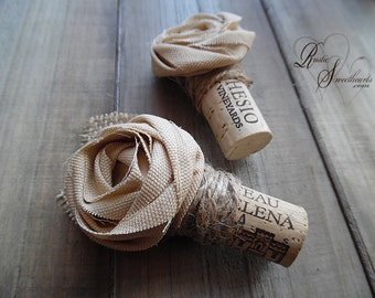 Ships in 5 days ~~~ Rustic Wine Cork Boutonniere with Tan Cotton Rose, Twine & Burlap