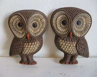Two HOOooOOo Little Owls 1970s So Darn CuTe!! Zen Bohemian Nursery Woodland Just because!
