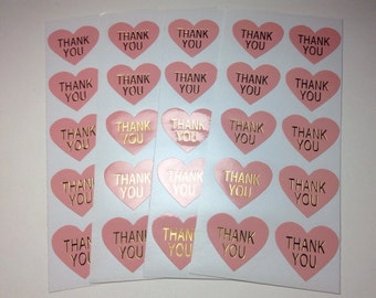 Light Pink Glossy Heart Thank You Stickers