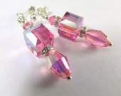 Dainty Pink Swarovski Rose Faceted Cube and Barrel Earrings on Sterling Silver Posts