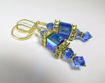 Royal Blue and Gold Earrings in 8mm Swarovski Sapphire AB Cubes on 14k Gold Fill earring leverbacks