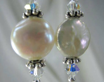 White Freshwater Pearl Earrings with Pearl Coins and Swarovski Crystal AB Crystals on Sterling Silver Earring Wires