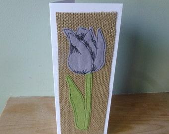 Applique  textile lilac Tulip birthday  mother's day  thankyou card