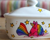 Unicorn hand painted fine bone china butter dish