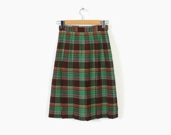 Vintage 40s SKIRT / 1940s PLEATED Green & Brown Plaid Wool Skirt Xs - S