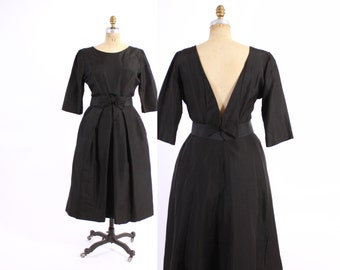 Vintage 50s DRESS / 950s Black Branell Cocktail Party Dress Bow Front & Plunging Back S