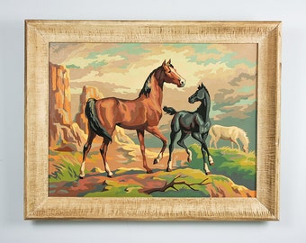 Vintage Horse Painting, Paint by Number Horse, Equestrian Decor, Vintage Artwork, Horse Theme Western Decor, 1950s Art, 1950s Home Decor