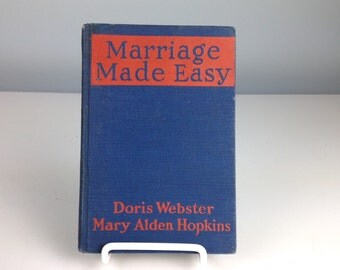 1928 Marriage Made Easy Book, Collectible Book, Wedding Gift, Paper Anniversary, First Anniversary Gift, Antique Book