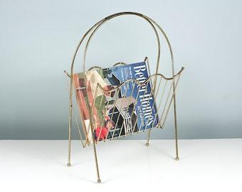 Mid Century Magazine Rack, Magazine Holder, Magazine Stand, Newspaper Rack, Newspaper Holder, Vintage Storage and Organization, Atomic Era